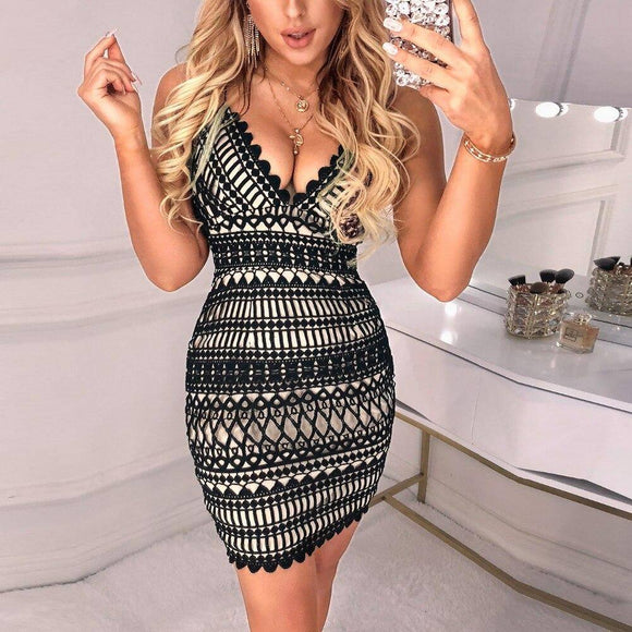 Women Elegant Fashion Sexy Mini Bodycon Dress 2020 Deep V-Neck Halter Hollow Out Scalloped Trim Cocktail Party Dress 2020