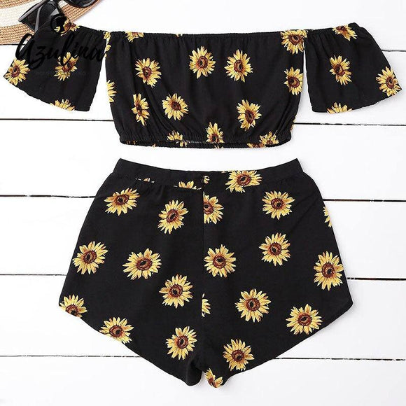 Casual 2 Two Piece Set Women Sunflower Print Summer Off the Shoulder Crop Top 2020 Shorts Zipper 2018 Beachwear Women Set
