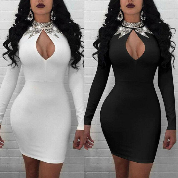Sexy Women Clubwear Dress 2020 Bandage Bodycon Long Sleeve Evening Party Zip Up Mini Dress 2020 Sequined Sparky Patchwork Cut Out Dress 2020