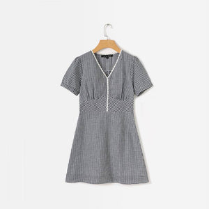 Summer Women Dress 2020 Casual Plaid Short-Sleeved V-Neck Lace Dress 2020 Stitching Vestidos