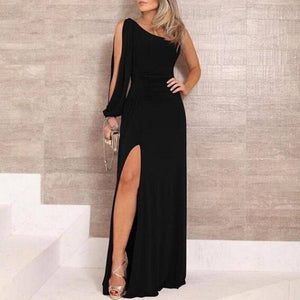 Split Women Party Long Dress 2020 One Shoulder Long Sleeve Sexy Bodycon Dress 2020 Lady Slim Elegant Black Maxi Dress 2020 Vestidos