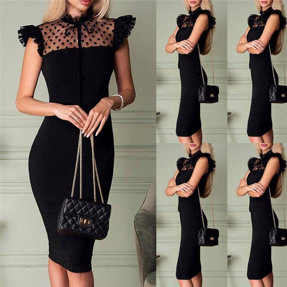 Women Elegant Mesh Patchwork See Through Bandage Dress 2020 Turtleneck Dot Black Dress 2020 Bodycon Evening Party Clubwear Knee Dress 2020 Usa