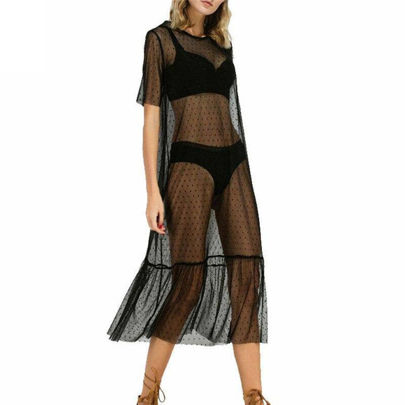 Sexy Women Short Sleeve See Through Mesh Sheer Dress 2020 O-Neck Black Evening Long Maxi Dress 2020 Loose Dot Bikini Cover Ups Beach Dress 2020