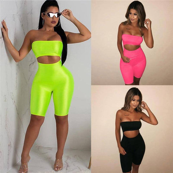 Sexy Women Sleeveless Off Shoulder Strapless Bodycon Romper Jumpsuit Clubwear Holes Cut Out Fitness Sports Bodysuit Short Pants