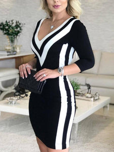 Women Sexy Striped Dress 2020 Female Long Sleeve V-Neck Casual Knitted Dress 2020 Elegant Office Lady Work Dress 2020 Spring Spring