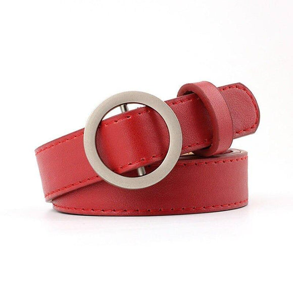 Fashion New Round Metal Circle Belt Female Pu Leather Waist Belts For Women Jeans Pants Dress 2021 Skirts Wholesale 6Color Waistband