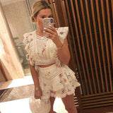 Summer Designer Two Piece Sets Women'S Printed Embroidery Cutout Sexy Cotton Top 2020 + Shorts Resort Vocation Suits New