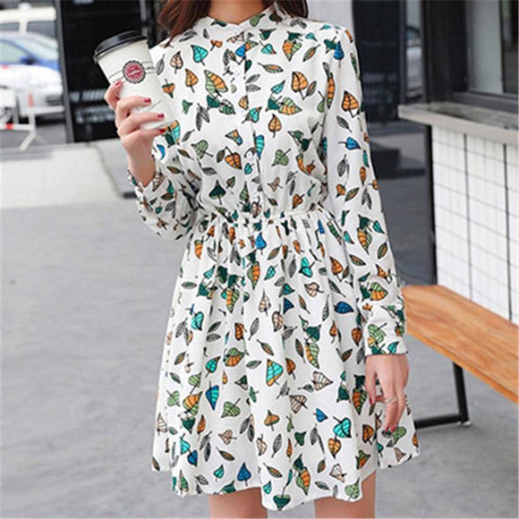 Original 2018 Brand New Spring Vintage Elastic Waist Dress 2020 Chiffon O-Neck Long-Sleeved Floral Dress 2020 Female Vestidos