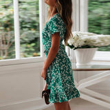 Boho Floral Print Summer Dress 2020 Women Chiffon Ruffles Sexy V Neck Short Sleeve A Line Mini Dress 2020 Beach Vacation Sundress