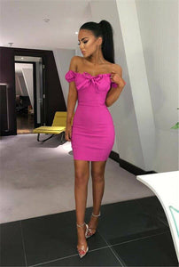 New Women Hot Off Shoulder Bandage Bodycon Dress 2020 Strapless Short Sleeve Dress 2020 Lace-Up Bow Evening Party Clubwear Mini Dress 2020