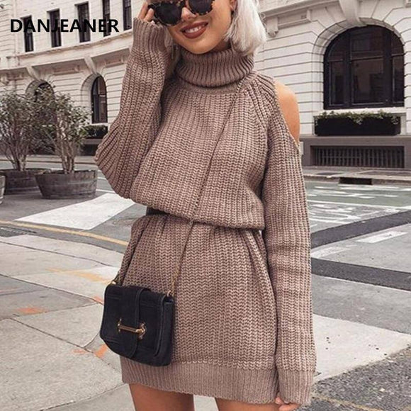 Danjeaner Autumn Winter Turtleneck Off Shoulder Knitted Sweater Dress 2020 Women Solid Slim Plus Size Long Pullovers Knitting Jumper