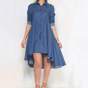 Fashion Blue Summer Women Dress 2020 Long Sleeve Denim Shirt Dress 2020 Casual Turn-Down Collar Women Dress 2020 Ruffle Loose Party Clothes