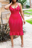 Sexy Women Bodycon Dress 2020 Ruffle Spaghetti Straps Sleeveless Dress 2020 Polka Dots Midi Dress 2020 Sundress Summer Party Beach Plus Size