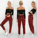 2019 New Brand Fashion US New Women's Pants High Waist Elastic Zipper  Striped Plaid Casual Trousers