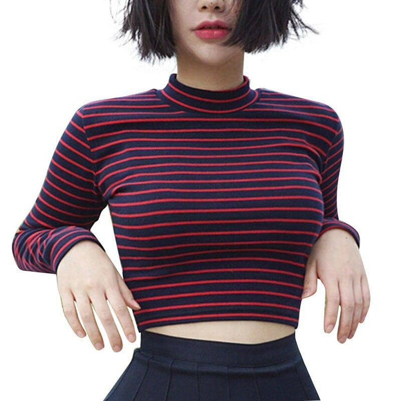 Crop Top 2020 Women Chic All-Match Classic Stripe Slim Short Bustier Crop Top 2020 Turtleneck Long Sleeved T-Shirt Sexy Shirts Tee