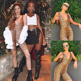 Trendy Women Deep V-Neck Playsuit Sleeveelss Sexy Leopard Print Bodycon Playsuits Leotard Jumpsuit Romper Top 2020 Shorts Trousers