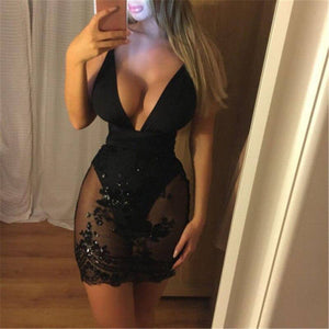 Sexy Women Backless Shiny Bodycon Pencil Clubwear Party Mini Dress 2020 Strap Deep V-Neck Lace Sequined Mesh Patchwork Dress 2020 Sundress