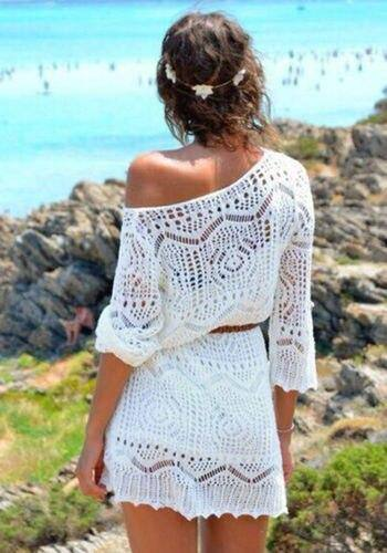 Women Lace Hollow Crochet Swimwear Bikini Cover Up Beach Dress 2021 Sarongs Kaftan O-Neck White High Waist Mini Dress 2021