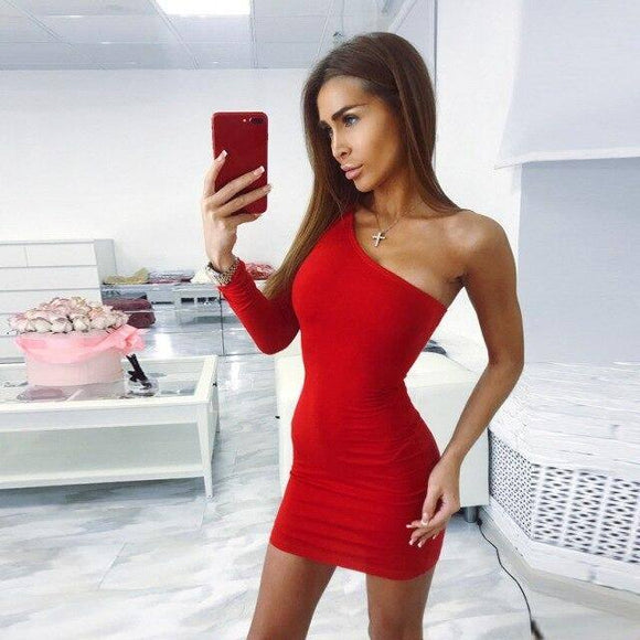 Cotton One One Shoulder Slope Long Sleeve High Waist Sexy Bodycon Dress 2021 Autumn Winter Women Fashion Party Dress 2021