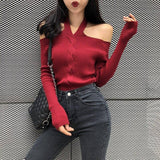 Women Halter Slash Neck Knitted Off-Shoulder Sweater Pullover Girls Knitting Stretchy Sweater Pullovers Tops Female Dx6722
