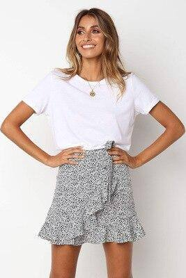 Sexy Skirt Multi Dot Print Short Mini Skirt 2021 Women Summer Ruffle High Waist Bow Tie Skirt 2021 Ladies Streetwear Slim Bottoms Saias