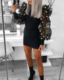 Women Spring Autumn Mesh Puff Long Sleeve Ribbed Knitted Dress 2020 Slim Casual Polka Dots Bodycon Dress 2020 Elegant Club Party Clothes
