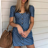 Summer Vintage Polka Dot Denim Dress 2020 Women Short Puff Sleeve Button Up Mini Dress 2020 New Fashion High Waist Female Vestidos D30