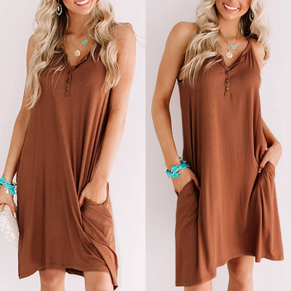 Fashion Casual Solid Color V Neck Short Sleeve Loose Women Dress 2020 Short Sleeve Summer Dress 2020 Women