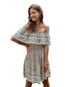 Casual Boho Summer Short Sleeve Dress 2020 Woman Print Dress 2020 Vintage Woman Clothes Streetwear Ladies Party Dress 2020 Vestidos