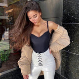 Bodysuit Women Sexy Backless Summer Clothes Solid V-Neck Thong Nude Bodycon Top 2020 Club Black Body Lady Elegant Seamless