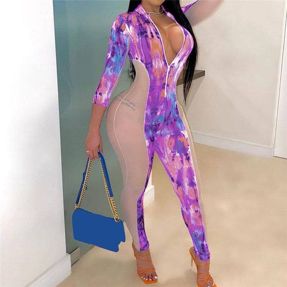 Tie Dye Print Mesh Patchwork Jumpsuit 2020 Rompers New Sexy Women V-Neck Front Zipper Three Quarter Sleeve One-Pieces