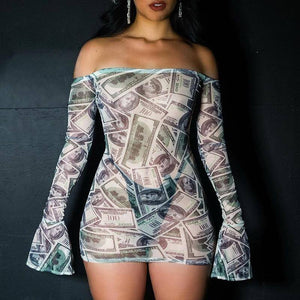 Sexy Women Mesh Print Bag Hip Dress 2020 Clubwear Slash Neck Mini Dress 2020 Long Flare Sleeve Off Shoulder Tight Fitting Dress 2020 New
