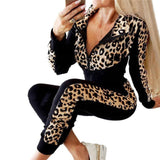 Fashion Women Tracksuit Leopard Printed Zipper Top 2020 Pants Two Piece Set Spring Fall Female Clothes Set