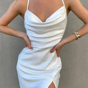 New Sexy Sleeveless Strap V-Neck Split Sexy Midi Dress 2020 Summer Women Fashion Streetwear Party Elegant Outfits White Sundress