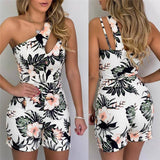 Vintage Women Sleeveless Single Strap Off Shoulder Playsuit New Hollow Out Floral Print Slim Jumpsuit High Waist Romper 2020