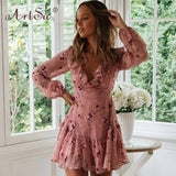 Boho Pink Floral Print Ruffle Dress 2020 Spring Women Elegant Party Holiday A Line Dress 2020 Ladies Sexy Hollow Out Bandage Dress 2020