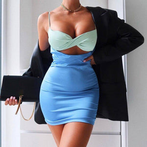 Sleeveless Cut Out Patchwork Sexy Mini Dress 2020 Autumn Winter Women Fashion Streetwear Party Outfits