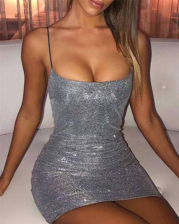 Sexy Women Sleeveless Strap Bandage Bodycon Dress 2020 Clubwear Low Cut Sparky Women Dress 2020 Evening Party Short Mini Pencil Dress 2020