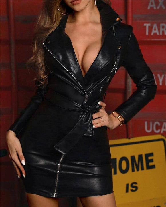 Sexy Women Pu Leather Shiny Long Sleeve V Neck Bodycon Dress 2020 Clubwear Party Zipped Dress 2020 Party Lace-Up High Waist Dress 2020 New