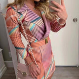 New Autumn Winter Casual Blazer Dress 2020 Women Rainbow Striped Ol Office Dress 2020 Elegant Ladies Slim Suit Party Dress 2020 D25