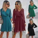 Solid Color Autumn Winter Women Midi Dress 2020 Fashion Casual V-Neck Long Sleeve Dress 2020 Female Slim A-Line Dress 2020 New Vestidos