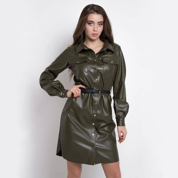 Sexy Pu Leather A Line Party Dress 2020 Belt Button Long Sleeve Turn Down Collar Autumn Winter Fashion Streetwear Mini Dress 2020