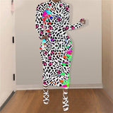 Leopard Tie Dyeing Print Patchwork Women Dress 2020 Sexy Clubwear Party Autumn Long Sleeve Bodycon Long Maxi Dress 2020