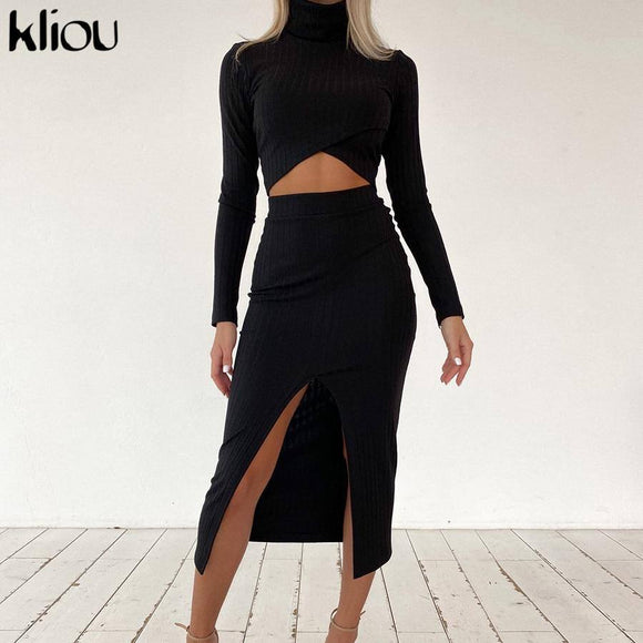 Sexy Skirt Kliou Bevel Cut Crop Top Side Slit Long Skirt 2021 Two Piece Set Women Ribbed Knitted Autumn Turtleneck Skinny Elegant Female Outfit