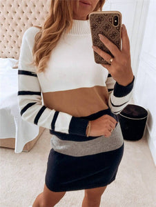 Fall Winter Warm Dress 2020 Women Turtleneck Long Sleeve Striped Sweater Dress 2020 Loose Causal Short Mini Dress 2020 Plus Size Fashion