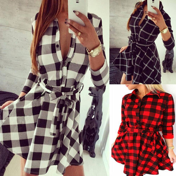 Autumn Spring Dress 2020 Women Casual Plaid Shirt Dress 2020 High Waist Charming Slim Dress 2020 Long Sleeve Mini Dress 2020 With Belt Vestidos