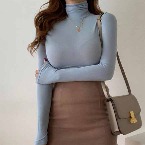 Long Sleeve Basic Crop Top 2020 Women Autumn Winter Solid Color Turtleneck T-Shirts Casual Warm Bottoming Clothes