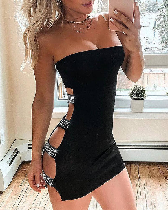 Women Fashion Clubwear Elegant Sexy Dress 2020 Club Studded Ladder Cut Out Sleeveless Tube Bodycon Dress 2020