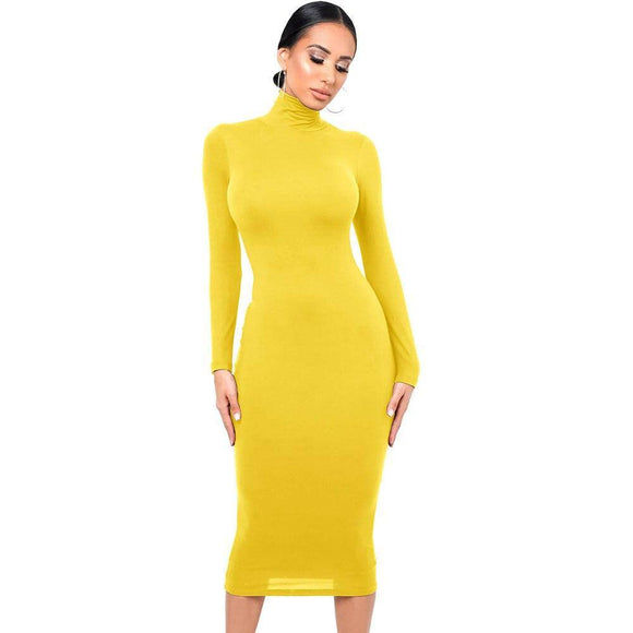 Long Sleeve Dresses 2020 Winter Long Sleeve Bodycon Dress 2020 For Women Turtleneck Solid Knee-Length Dress 2020 Basic Elastic Party Elegant Midi Dress 2020 Robe Hiver