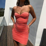 Spaghetti Strap Ruched Sexy Summer Dress 2020 Women Off Shoulder Strapless Backless Bodycon Mini Dress 2020 Pleated Party Dress 2020
